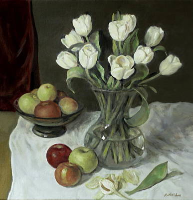 Painting - Tulips In A Glass Vase With Apples In A Green Pedestal Bowl by Robert Holden