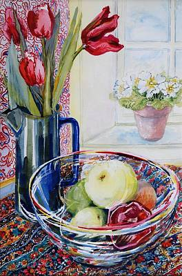 Fruit Bowl Window Painting - Tulips In A Jug With A Glass Bowl by Joan Thewsey