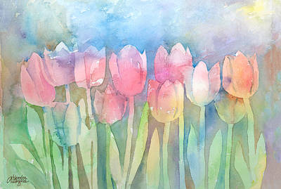 Tulips In A Row Art Print by Arline Wagner