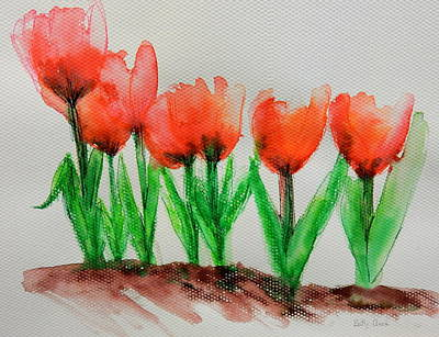 Painting - Tulips In A Row by Betty-Anne McDonald