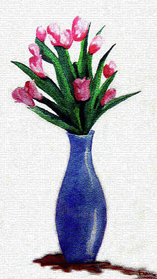 Painting - Tulips In A Tall Vase by Farah Faizal