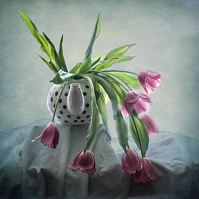 Tulips In A Teapot  Art Print