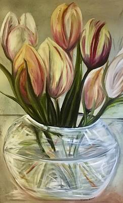 Painting - Tulips In A Vase by Chuck Gebhardt