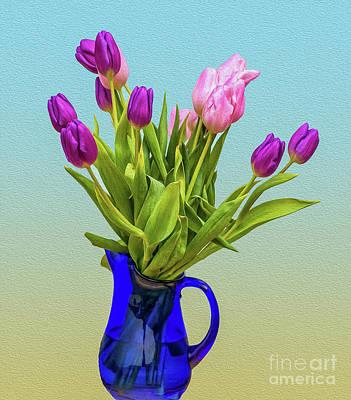 Digital Art - Tulips In A Vase  by Eleni Mac Synodinos