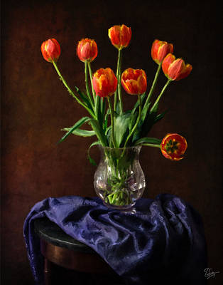 Photograph - Tulips In A Vase Faux Oil Painting by Endre Balogh