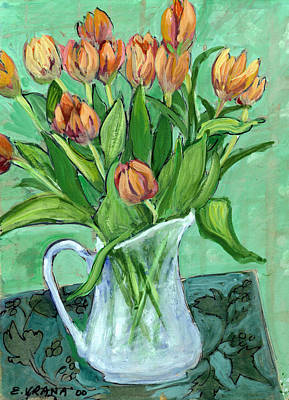 Pitcher Painting - Tulips In A White Pitcher by Ethel Vrana