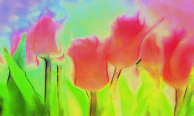 Tulips In Abstract 2 Art Print