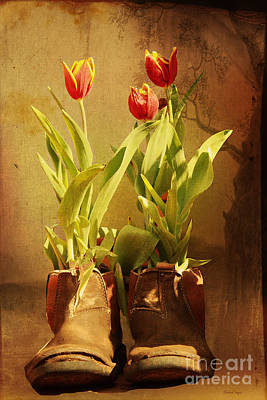 Photograph - Tulips In Boots by Elaine Teague