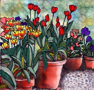 Tulips In Clay Pots Art Print by Linda Marcille