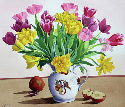 Pink And Yellow Painting - Tulips In Jug With Apples by Christopher Ryland