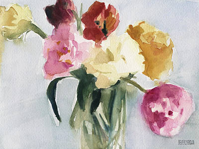 Interior Still Life Painting - Tulips In My Studio by Beverly Brown