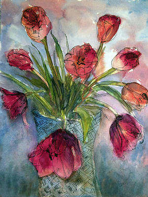 Wall Art - Painting - Tulips In Rosie's Vase by Elissa Poma