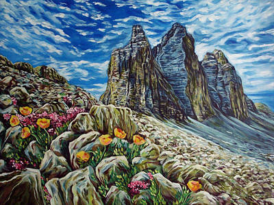 Tulips In The Mountains Art Print