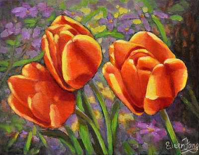 Painting - Tulips In The Sun by Eileen  Fong
