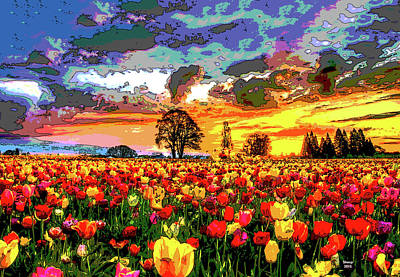 Mixed Media - Tulips In The Sunset by Charles Shoup