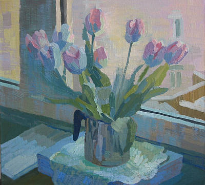 Painting - Tulips On A Window  by Lena Krasotina