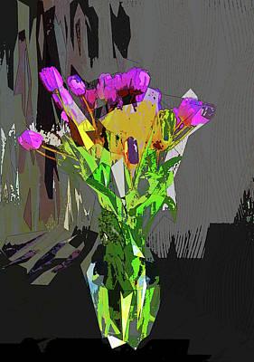 Digital Art - Tulips In Vase Cubed by David Pantuso