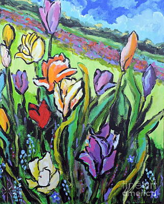 Painting - Tulips by Jodie Marie Anne Richardson Traugott          aka jm-ART