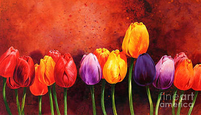 Colorful Still Life Painting - Tulips by John Francis