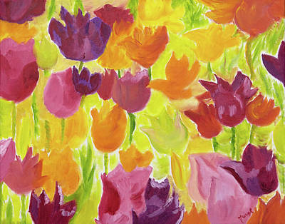 Painting -  Illuminating Tulips by Meryl Goudey