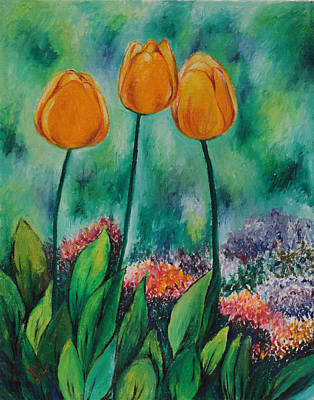 Painting - The Three Tulips by Miriam Shaw