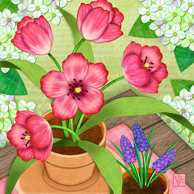 Terra Digital Art - Tulips On A Spring Day by Valerie Drake Lesiak