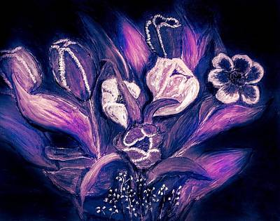 Painting - Tulips On Black by Anne Sands