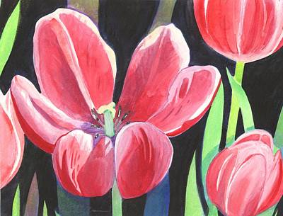 Painting - Tulips On Black by Helena Tiainen