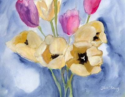 Painting - Tulips On Mom's Dining Table by Janel Bragg