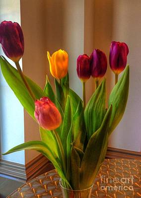 Photograph - Tulips On Table by Joan-Violet Stretch