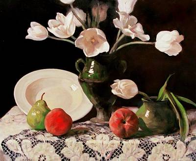 Moroccan Vase Painting - Tulips, Peaches, Pear, Pasta Plate by Robert Holden