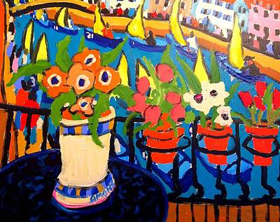 Painting - Tulips, Pears $ Yellow Sails by Brian Simons