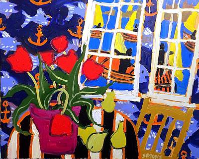 Painting - Tulips, Pears, Sailboats by Brian Simons