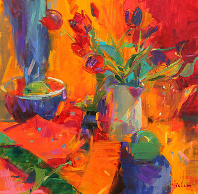 Green Bowl Painting - Tulips by Peter Graham