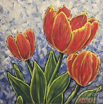Wall Art - Painting - Tulips. by Raul Alsina