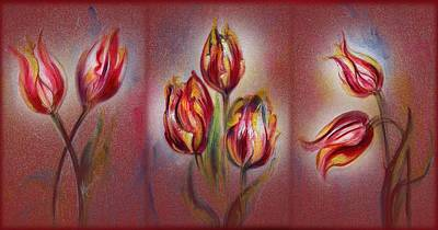 Mixed Media - Tulips - Red Beauty  by Harsh Malik