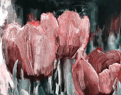 Digital Art - Tulips Red On Grey by Yury Malkov