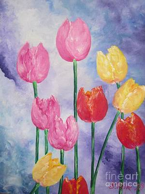 Painting - Ten  Simple  Tulips  Pink Red Yellow                                Flying Lamb Productions   by Sigrid Tune