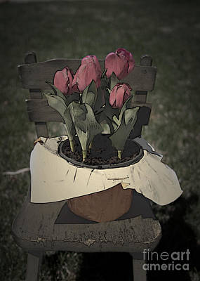 Photograph - Tulips Sitting On A Chair by Sherry Hallemeier