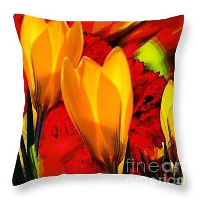 Digital Art - Tulips Throw Pillow by Gayle Price Thomas