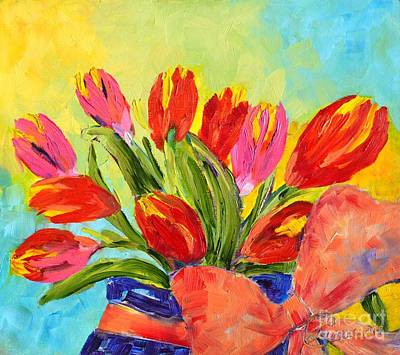 Painting - Tulips Tied Up by Lynda Cookson