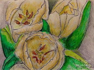 Mixed Media - Tulips Trio by Joan-Violet Stretch