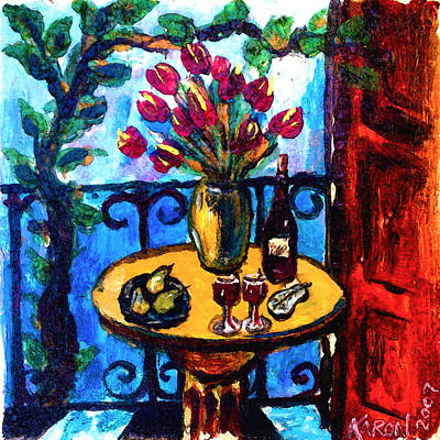 Floral Still Life Painting - Tulips Wine And Pears by Karon Melillo DeVega