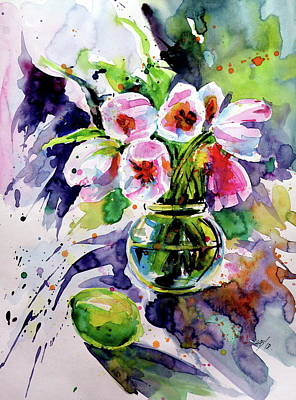 Painting - Tulips With Lemon by Kovacs Anna Brigitta