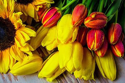 Tulips With Sunflowers Art Print