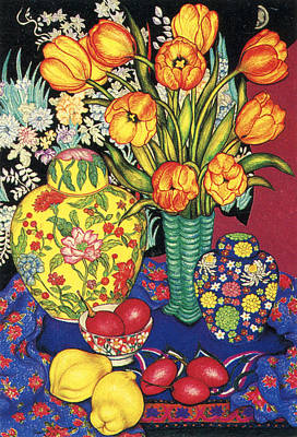 Pastel - Tulips With Tamarillos And Quinces by Richard Lee