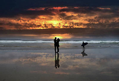 Digital Art - Tullan Strand At Sunset - A Romantic Couple Hugging And A Surfer Reflected In The Wet Sand by John Carver