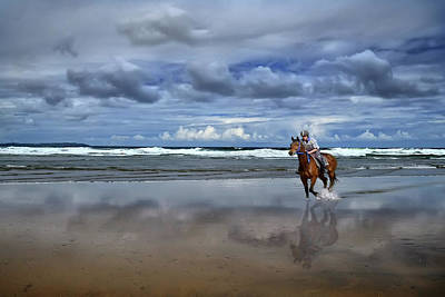 Tullan Strand - Horseriding In The Surf Art Print