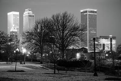 Photograph - Tulsa Black And White Skyline - Oklahoma Usa by Gregory Ballos