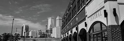 Tulsa Buildings Skyline Panoramic - Black And White Art Print